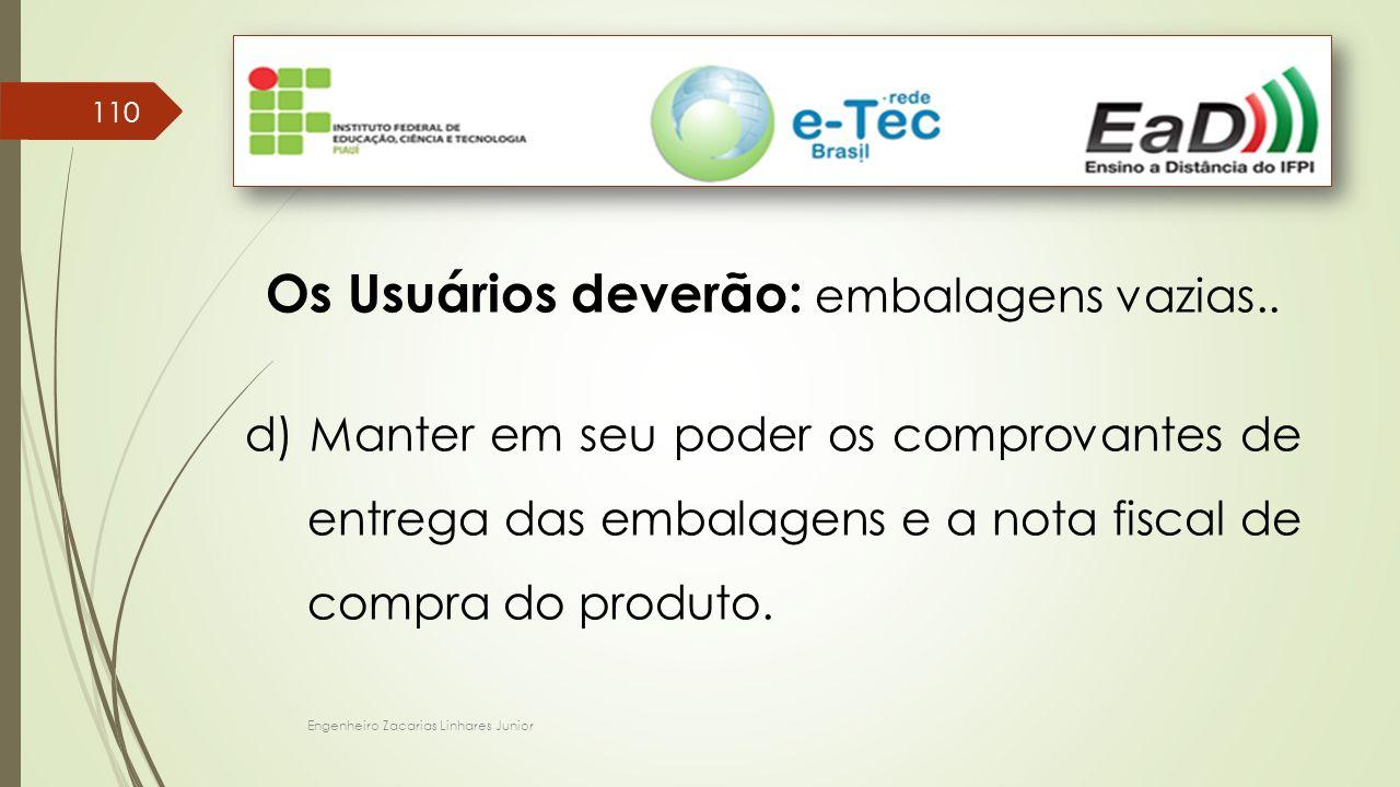 Engenheiro Zacarias Linhares Junior 110 Os Usuários deverão: embalagens vazias..