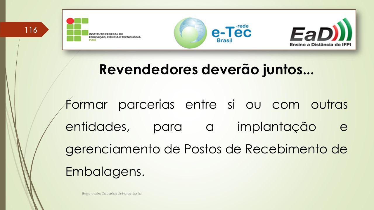 Engenheiro Zacarias Linhares Junior 116 Revendedores deverão juntos... Formar parcerias entre si ou com outras entidades, para a implantação e gerenci
