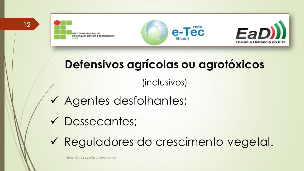 Engenheiro Zacarias Linhares Junior 12 Defensivos agrícolas ou agrotóxicos (inclusivos) Agentes desfolhantes; Dessecantes; Reguladores do crescimento vegetal.