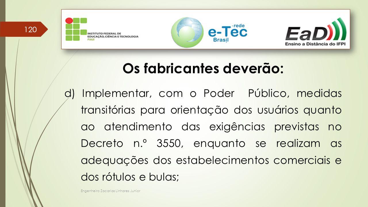 Engenheiro Zacarias Linhares Junior 120 Os fabricantes deverão: d) Implementar, com o Poder Público, medidas transitórias para orientação dos usuários