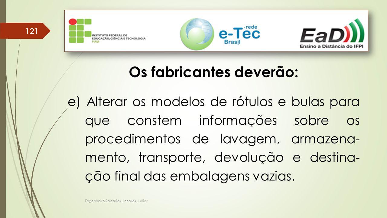 Engenheiro Zacarias Linhares Junior 121 Os fabricantes deverão: e) Alterar os modelos de rótulos e bulas para que constem informações sobre os procedi