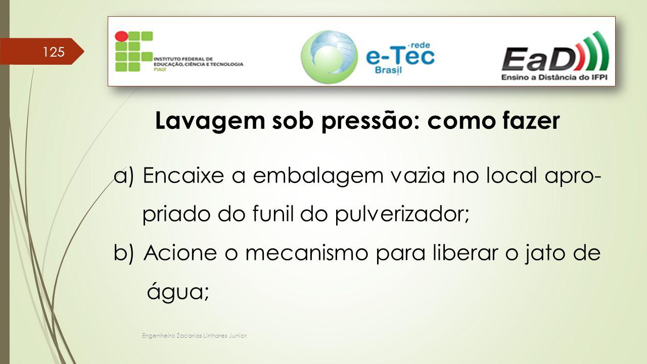 Engenheiro Zacarias Linhares Junior 125 Lavagem sob pressão: como fazer a) Encaixe a embalagem vazia no local apro- priado do funil do pulverizador; b) Acione o mecanismo para liberar o jato de água;