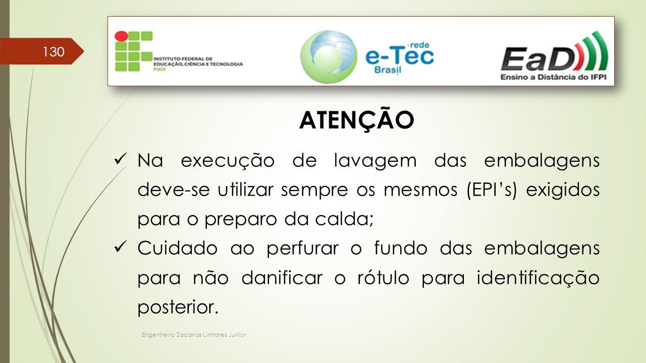 Engenheiro Zacarias Linhares Junior 130 ATENÇÃO Na execução de lavagem das embalagens deve-se utilizar sempre os mesmos (EPI's) exigidos para o prepar