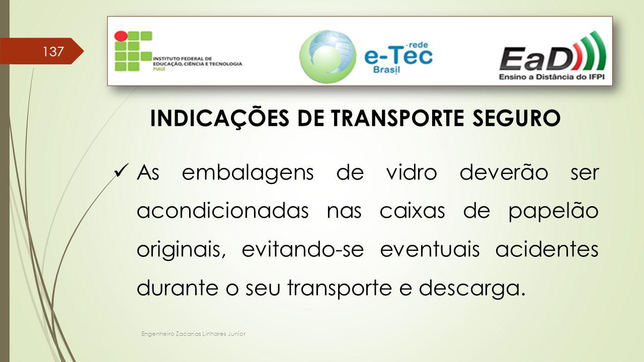 Engenheiro Zacarias Linhares Junior 137 INDICAÇÕES DE TRANSPORTE SEGURO As embalagens de vidro deverão ser acondicionadas nas caixas de papelão originais, evitando-se eventuais acidentes durante o seu transporte e descarga.
