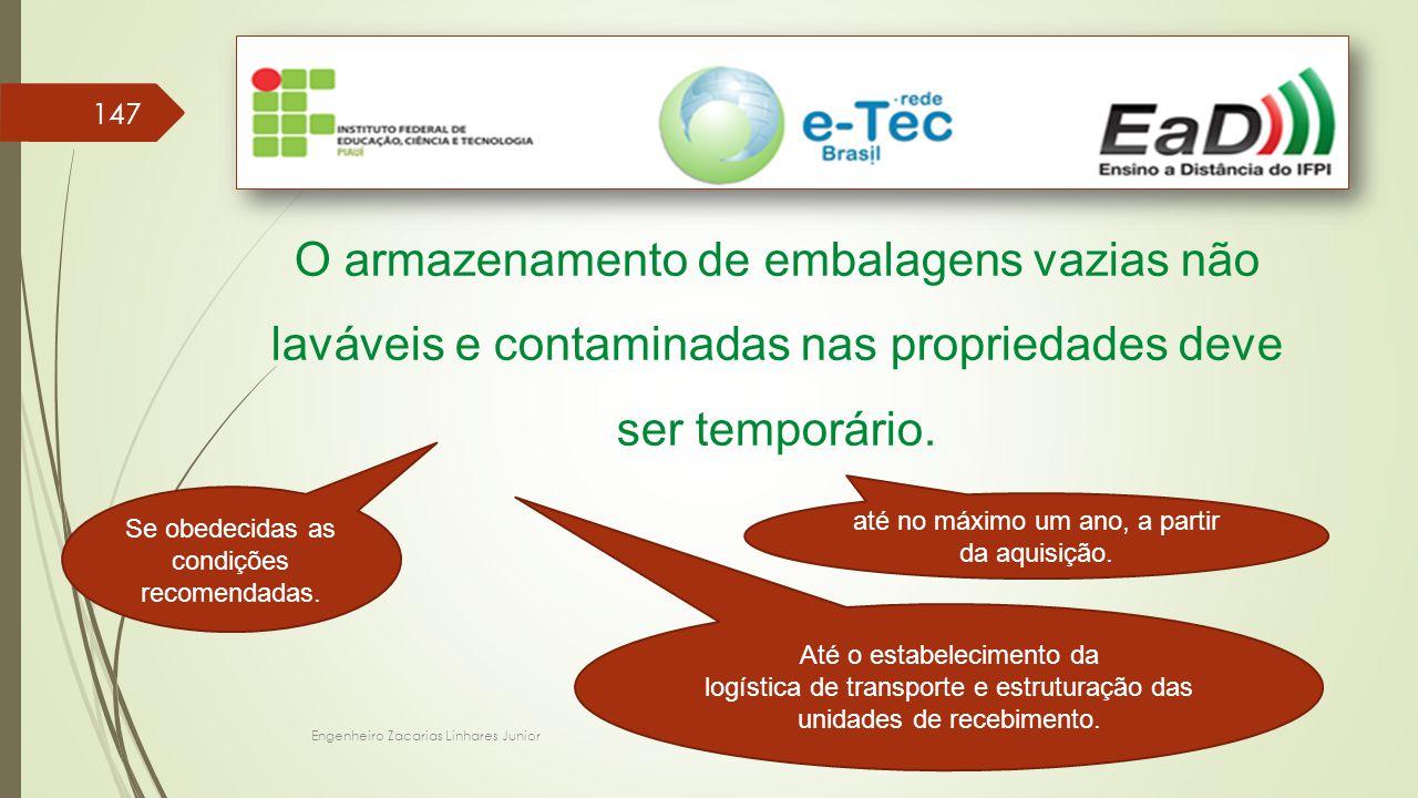 Engenheiro Zacarias Linhares Junior 147 O armazenamento de embalagens vazias não laváveis e contaminadas nas propriedades deve ser temporário.