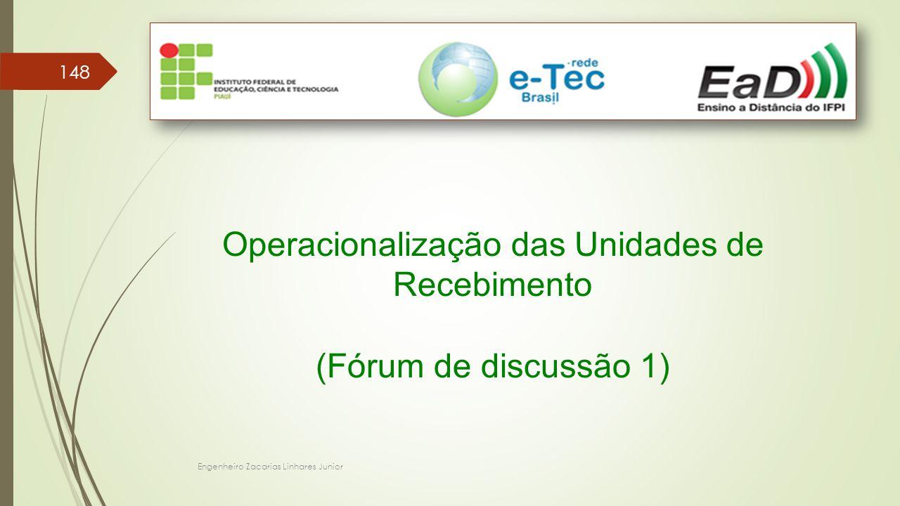 Engenheiro Zacarias Linhares Junior 148 Operacionalização das Unidades de Recebimento (Fórum de discussão 1)