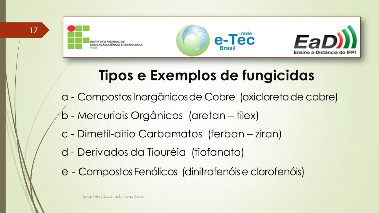 Engenheiro Zacarias Linhares Junior 17 Tipos e Exemplos de fungicidas a - Compostos Inorgânicos de Cobre (oxicloreto de cobre) b - Mercuriais Orgânicos (aretan – tilex) c - Dimetil-ditio Carbamatos (ferban – ziran) d - Derivados da Tiouréia (tiofanato) e - Compostos Fenólicos (dinitrofenóis e clorofenóis)
