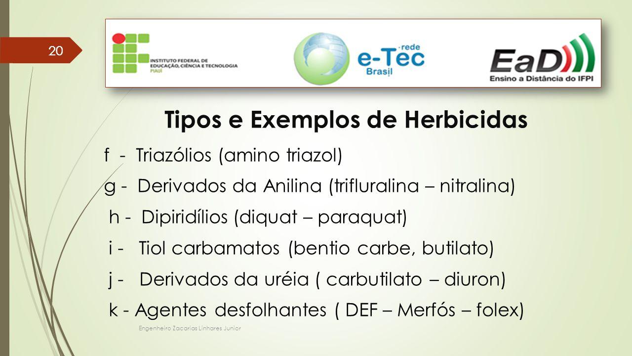 Engenheiro Zacarias Linhares Junior 20 Tipos e Exemplos de Herbicidas f - Triazólios (amino triazol) g - Derivados da Anilina (trifluralina – nitralina) h - Dipiridílios (diquat – paraquat) i - Tiol carbamatos (bentio carbe, butilato) j - Derivados da uréia ( carbutilato – diuron) k - Agentes desfolhantes ( DEF – Merfós – folex)