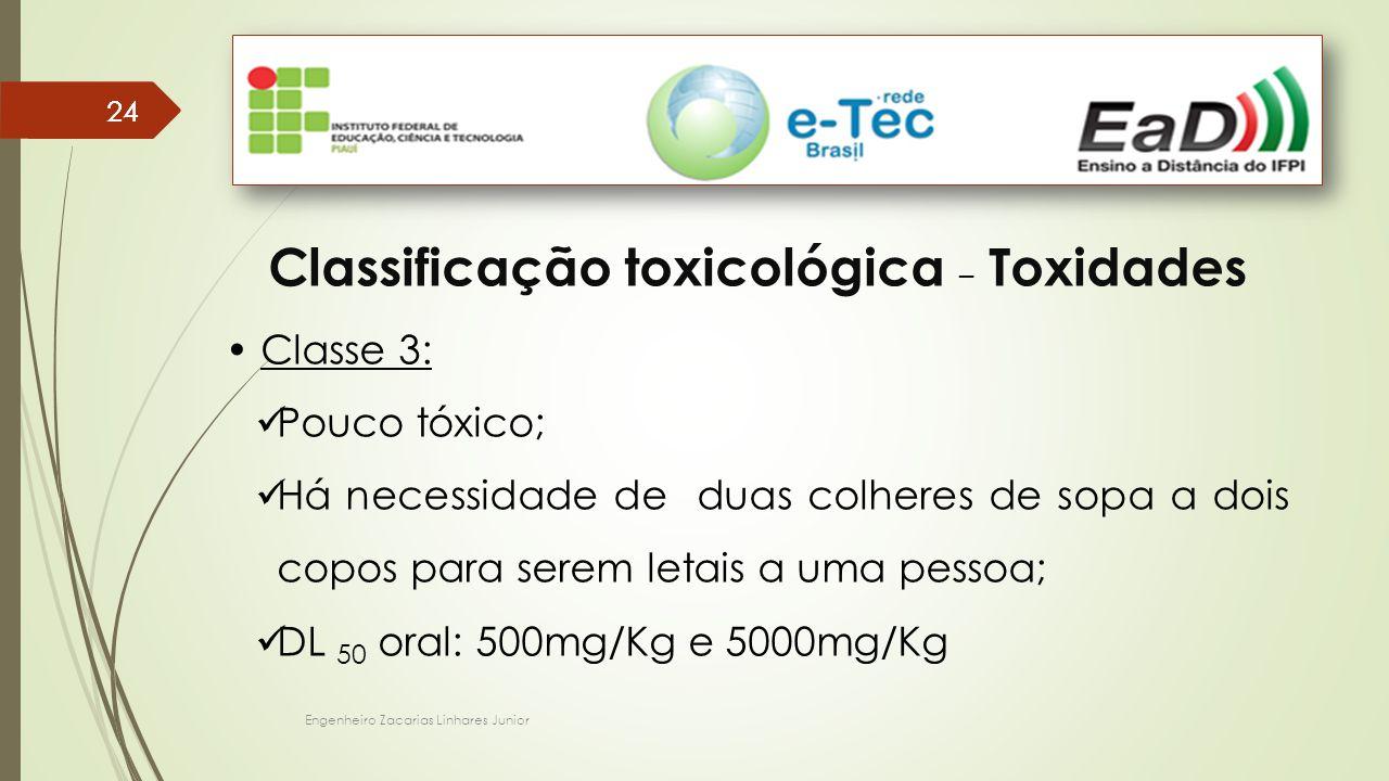 Engenheiro Zacarias Linhares Junior 24 Classificação toxicológica – Toxidades Classe 3: Pouco tóxico; Há necessidade de duas colheres de sopa a dois copos para serem letais a uma pessoa; DL 50 oral: 500mg/Kg e 5000mg/Kg