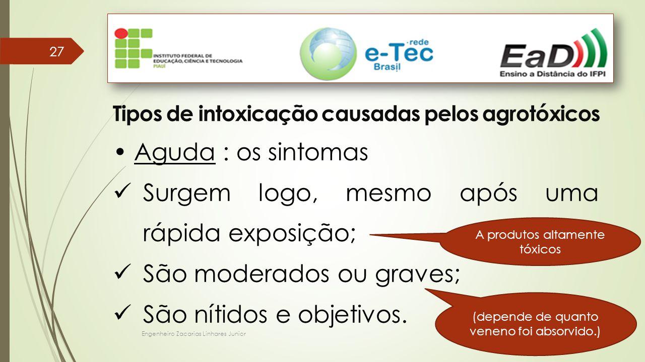 Engenheiro Zacarias Linhares Junior 27 Tipos de intoxicação causadas pelos agrotóxicos Aguda : os sintomas Surgem logo, mesmo após uma rápida exposição; São moderados ou graves; São nítidos e objetivos.
