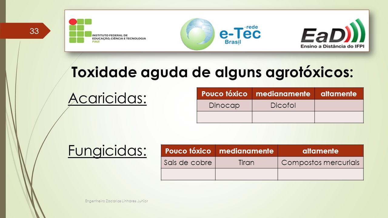 Engenheiro Zacarias Linhares Junior 33 Toxidade aguda de alguns agrotóxicos: Acaricidas: Fungicidas: Pouco tóxicomedianamentealtamente DinocapDicofol Pouco tóxicomedianamentealtamente Sais de cobreTiranCompostos mercuriais