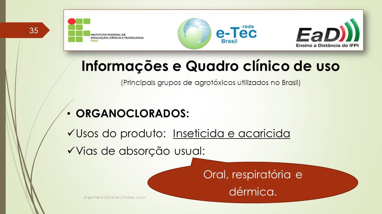 Engenheiro Zacarias Linhares Junior 35 Informações e Quadro clínico de uso (Principais grupos de agrotóxicos utilizados no Brasil) ORGANOCLORADOS: Uso