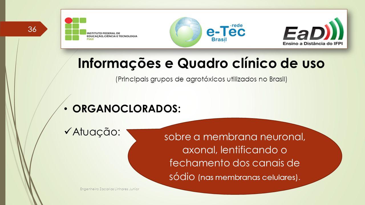Engenheiro Zacarias Linhares Junior 36 Informações e Quadro clínico de uso (Principais grupos de agrotóxicos utilizados no Brasil) ORGANOCLORADOS: Atuação: sobre a membrana neuronal, axonal, lentificando o fechamento dos canais de sódio (nas membranas celulares).
