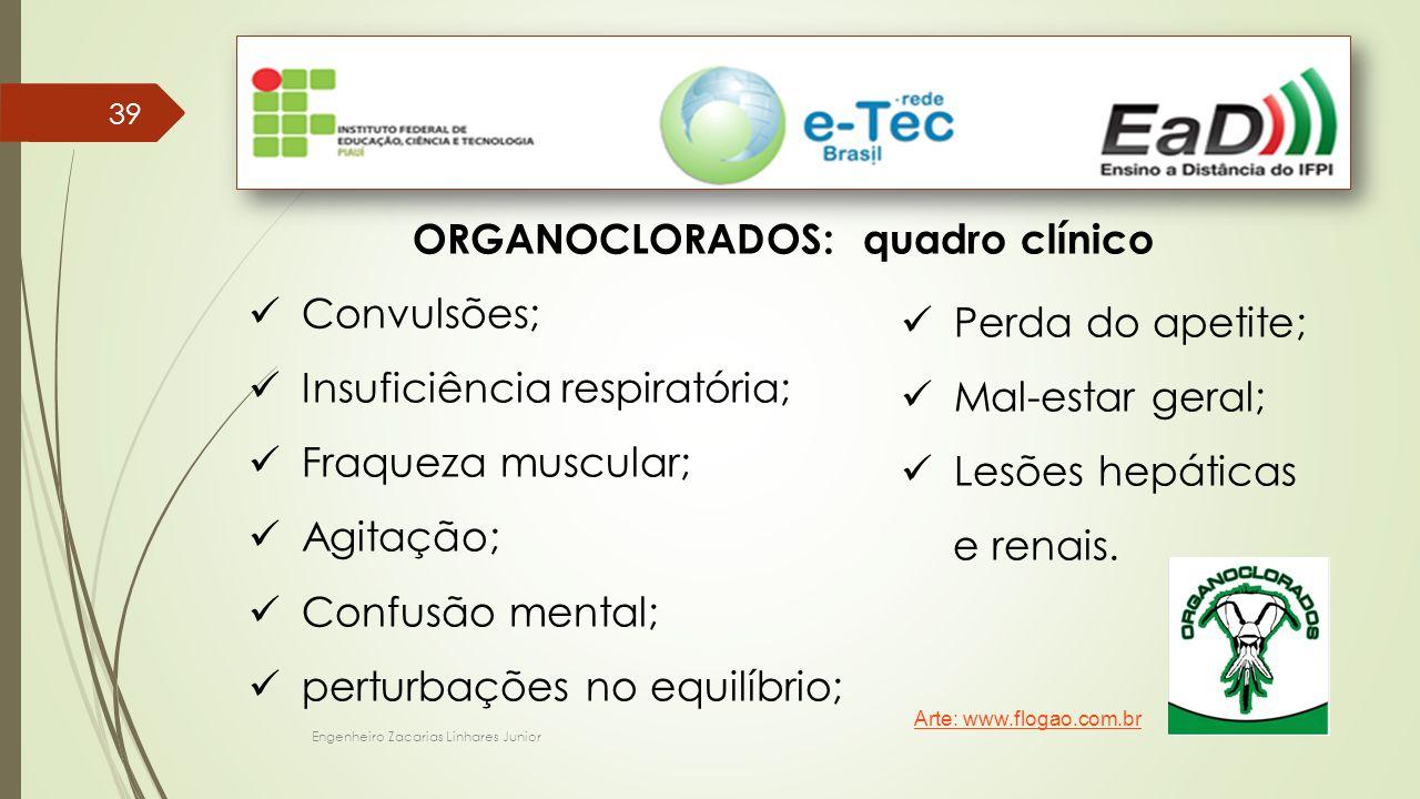 Engenheiro Zacarias Linhares Junior 39 ORGANOCLORADOS: quadro clínico Convulsões; Insuficiência respiratória; Fraqueza muscular; Agitação; Confusão mental; perturbações no equilíbrio; Perda do apetite; Mal-estar geral; Lesões hepáticas e renais.