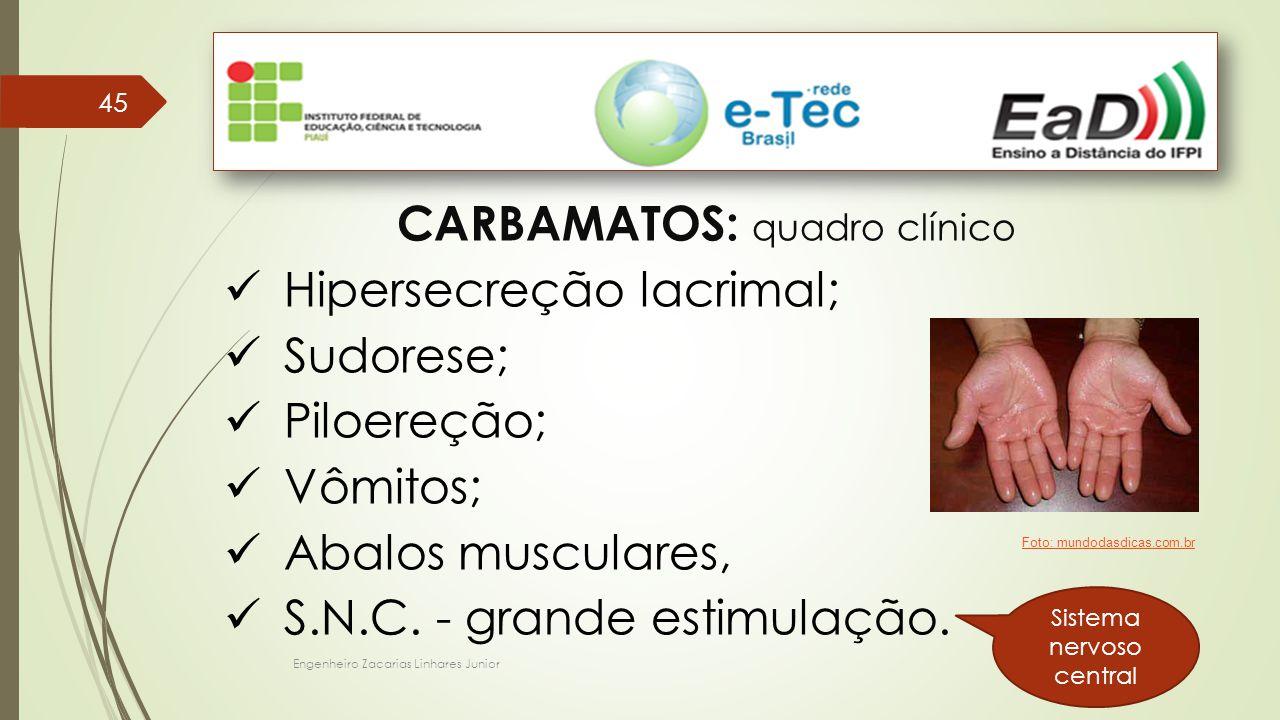 Engenheiro Zacarias Linhares Junior 45 CARBAMATOS: quadro clínico Hipersecreção lacrimal; Sudorese; Piloereção; Vômitos; Abalos musculares, S.N.C. - g