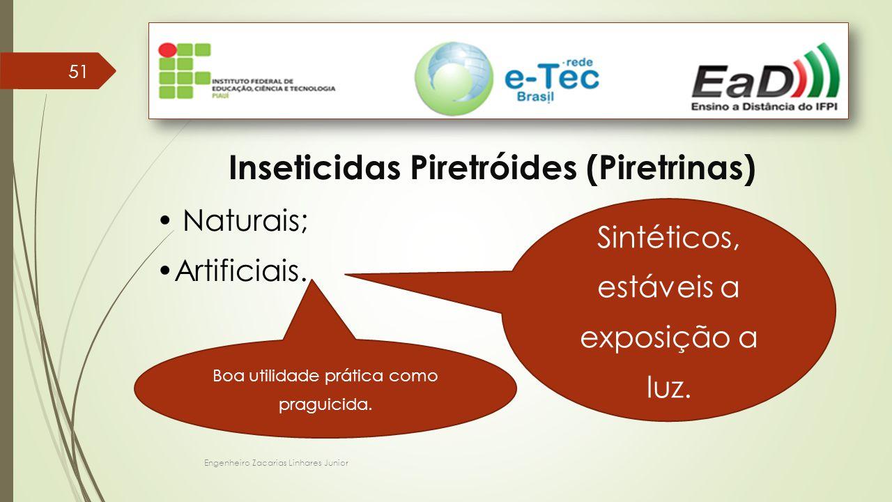 Engenheiro Zacarias Linhares Junior 51 Inseticidas Piretróides (Piretrinas) Naturais; Artificiais. Sintéticos, estáveis a exposição a luz. Boa utilida
