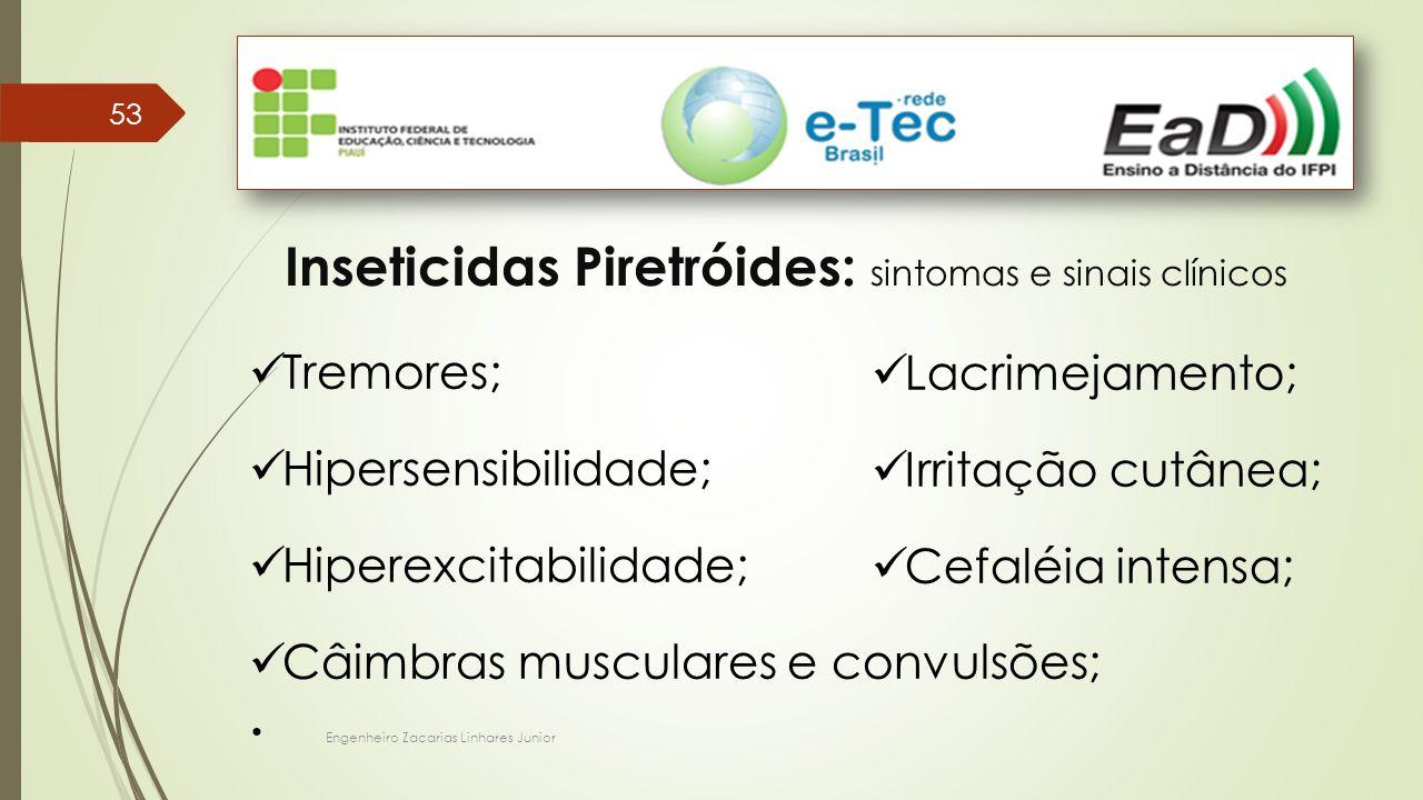 Engenheiro Zacarias Linhares Junior 53 Inseticidas Piretróides: sintomas e sinais clínicos Tremores; Hipersensibilidade; Hiperexcitabilidade; Câimbras musculares e convulsões; Lacrimejamento; Irritação cutânea; Cefaléia intensa;