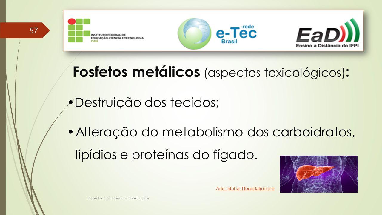 Engenheiro Zacarias Linhares Junior 57 Fosfetos metálicos (aspectos toxicológicos) : Destruição dos tecidos; Alteração do metabolismo dos carboidratos, lipídios e proteínas do fígado.