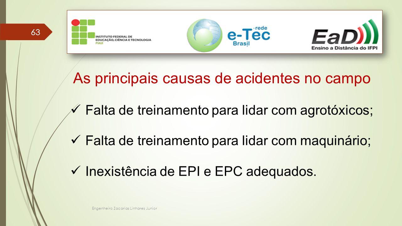 Engenheiro Zacarias Linhares Junior 63 As principais causas de acidentes no campo Falta de treinamento para lidar com agrotóxicos; Falta de treinamento para lidar com maquinário; Inexistência de EPI e EPC adequados.