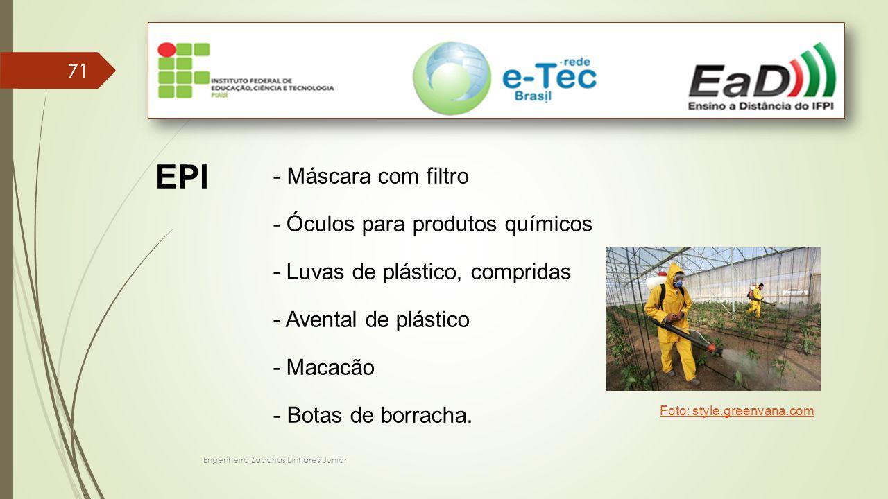 Engenheiro Zacarias Linhares Junior 71 EPI - Máscara com filtro - Óculos para produtos químicos - Luvas de plástico, compridas - Avental de plástico -