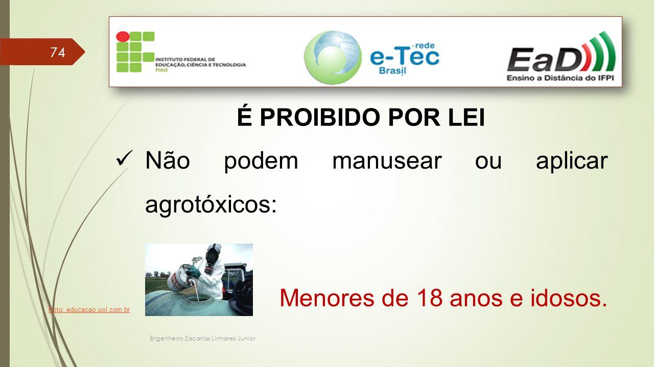 Engenheiro Zacarias Linhares Junior 74 É PROIBIDO POR LEI Não podem manusear ou aplicar agrotóxicos: Menores de 18 anos e idosos.