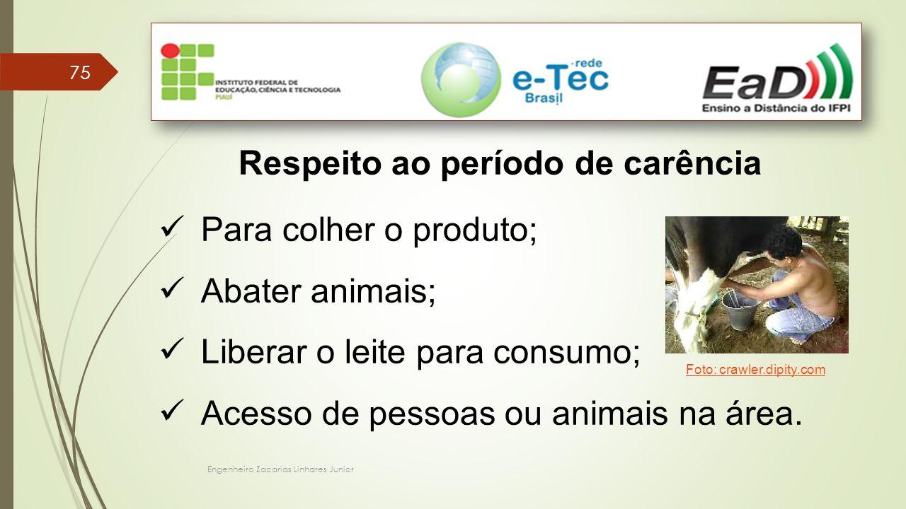 Engenheiro Zacarias Linhares Junior 75 Respeito ao período de carência Para colher o produto; Abater animais; Liberar o leite para consumo; Acesso de pessoas ou animais na área.