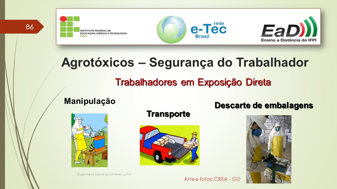 Engenheiro Zacarias Linhares Junior 86 Agrotóxicos – Segurança do Trabalhador Manipulação Transporte Descarte de embalagens Trabalhadores em Exposição Direta Arte e fotos: CREA - GO