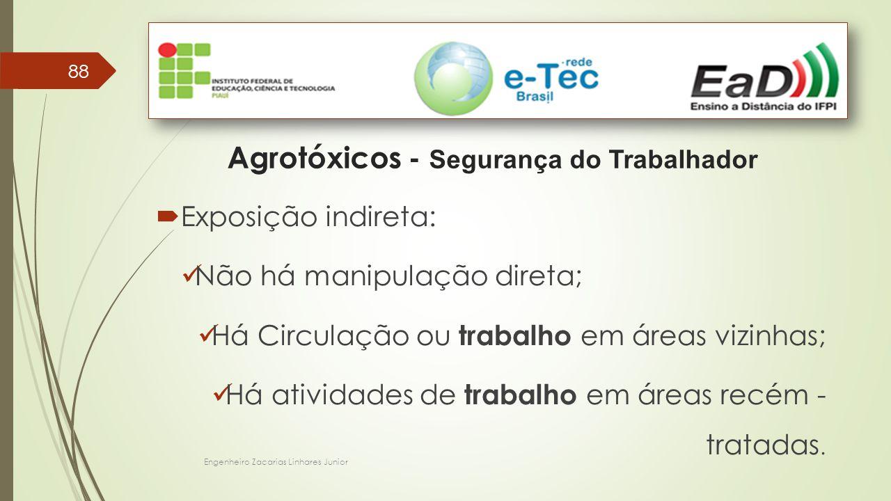 88 Agrotóxicos - Segurança do Trabalhador  Exposição indireta: Não há manipulação direta; Há Circulação ou trabalho em áreas vizinhas; Há atividades