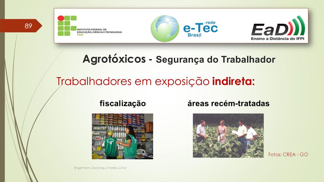89 Engenheiro Zacarias Linhares Junior Agrotóxicos - Segurança do Trabalhador Trabalhadores em exposição indireta: áreas recém-tratadasfiscalização Fotos: CREA - GO