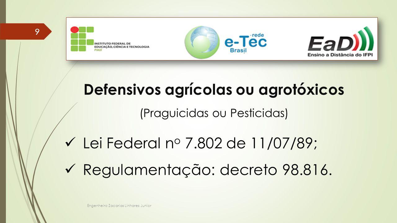 Engenheiro Zacarias Linhares Junior 99 Defensivos agrícolas ou agrotóxicos (Praguicidas ou Pesticidas) Lei Federal n o 7.802 de 11/07/89; Regulamentação: decreto 98.816.
