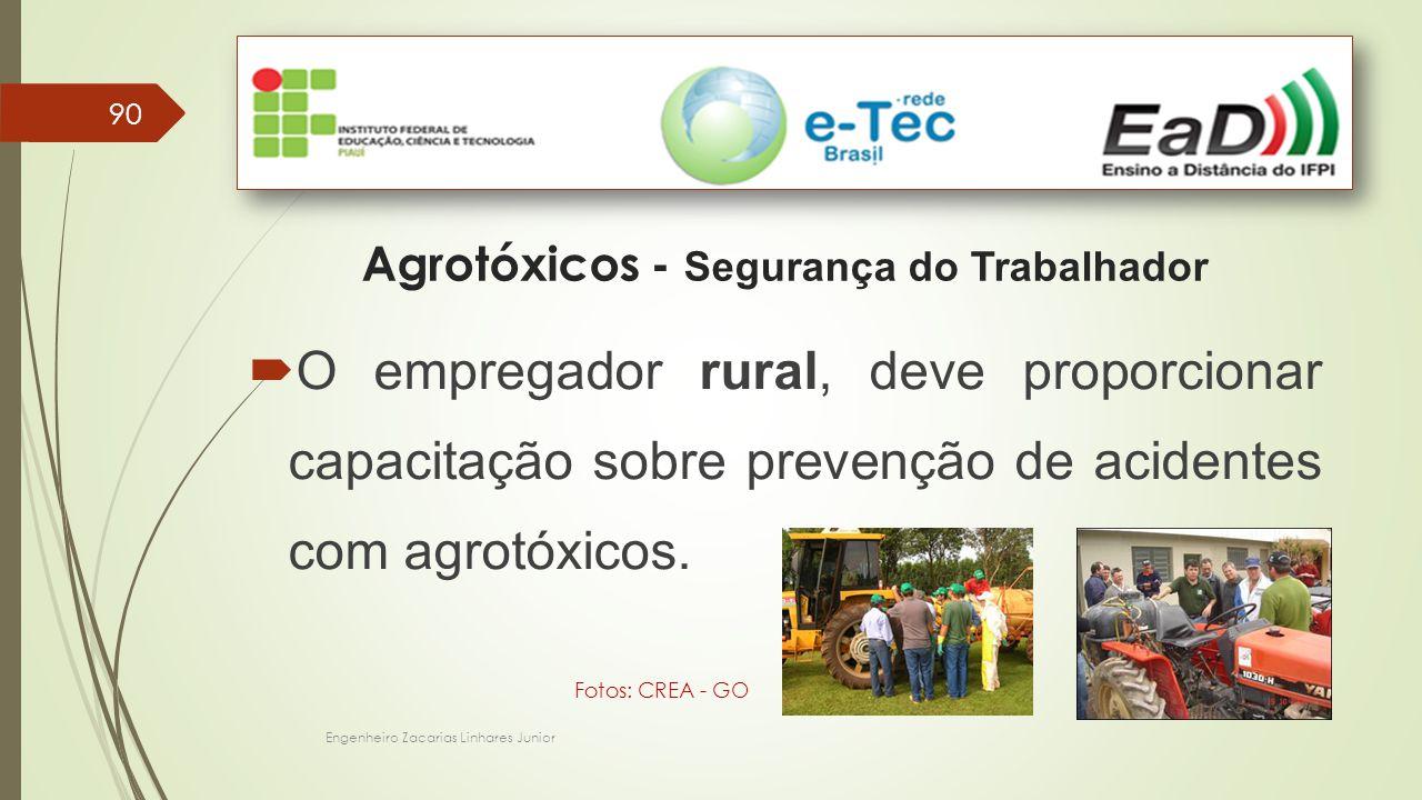 90 Engenheiro Zacarias Linhares Junior Agrotóxicos - Segurança do Trabalhador  O empregador rural, deve proporcionar capacitação sobre prevenção de acidentes com agrotóxicos.