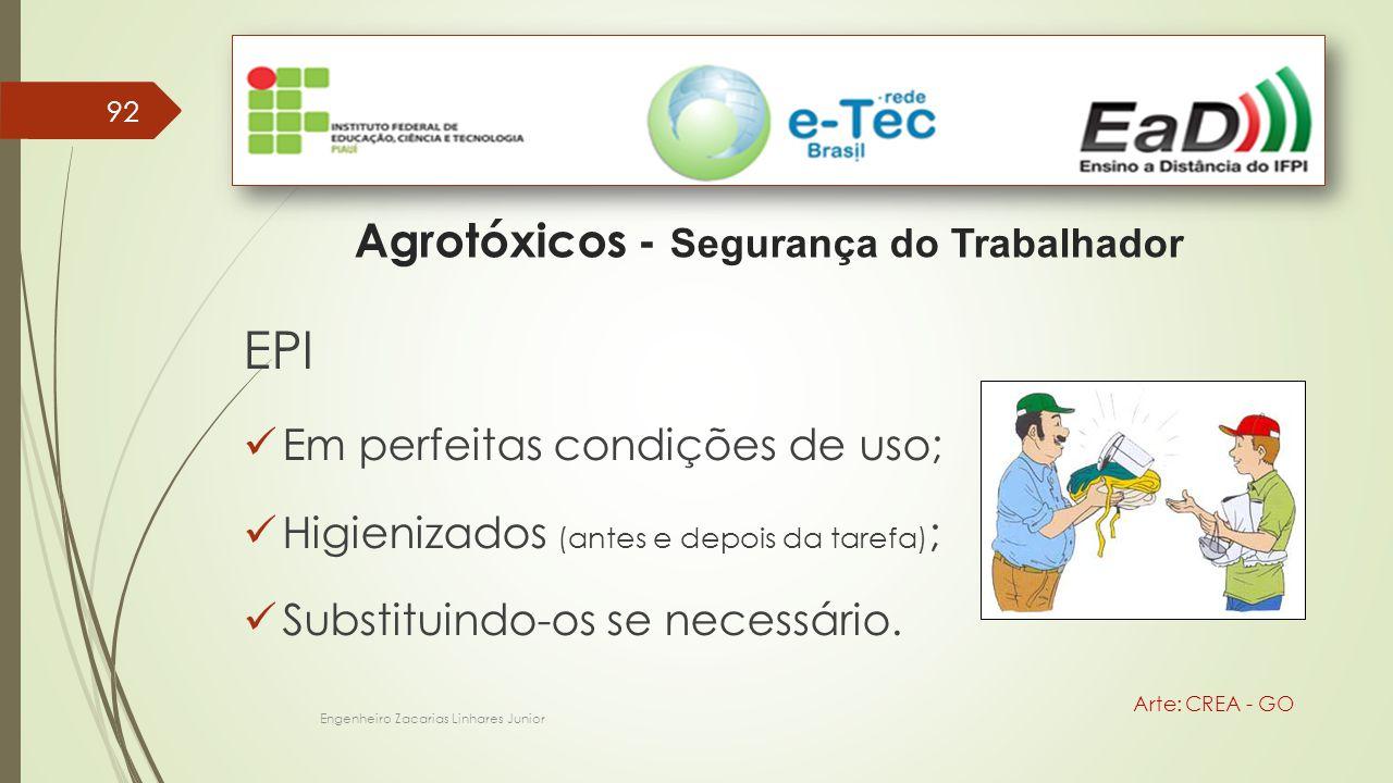 92 Engenheiro Zacarias Linhares Junior Agrotóxicos - Segurança do Trabalhador Arte: CREA - GO EPI Em perfeitas condições de uso; Higienizados (antes e depois da tarefa) ; Substituindo-os se necessário.