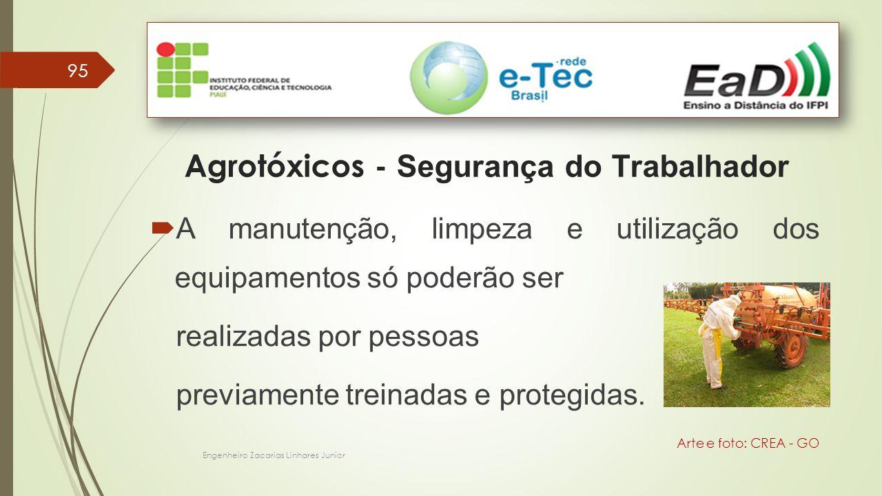 95 Engenheiro Zacarias Linhares Junior Agrotóxicos - Segurança do Trabalhador Arte e foto: CREA - GO  A manutenção, limpeza e utilização dos equipamentos só poderão ser realizadas por pessoas previamente treinadas e protegidas.