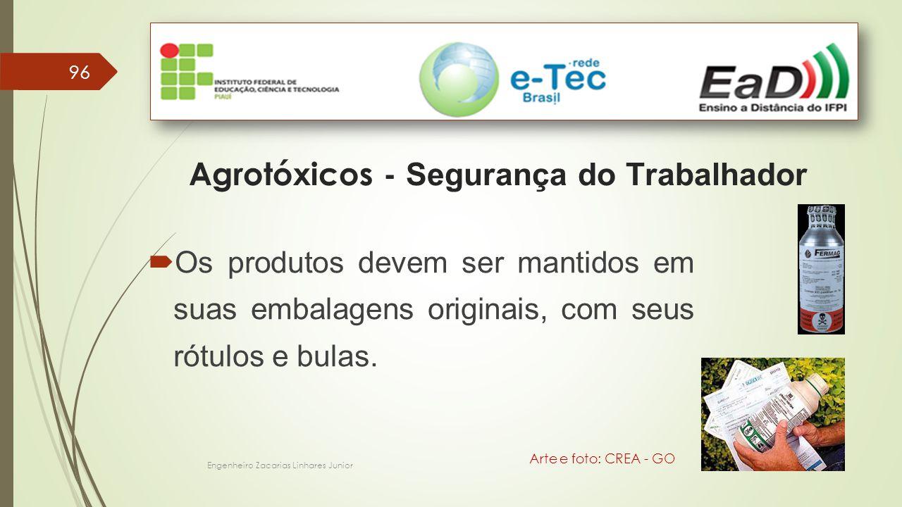 96 Engenheiro Zacarias Linhares Junior Agrotóxicos - Segurança do Trabalhador Arte e foto: CREA - GO  Os produtos devem ser mantidos em suas embalagens originais, com seus rótulos e bulas.