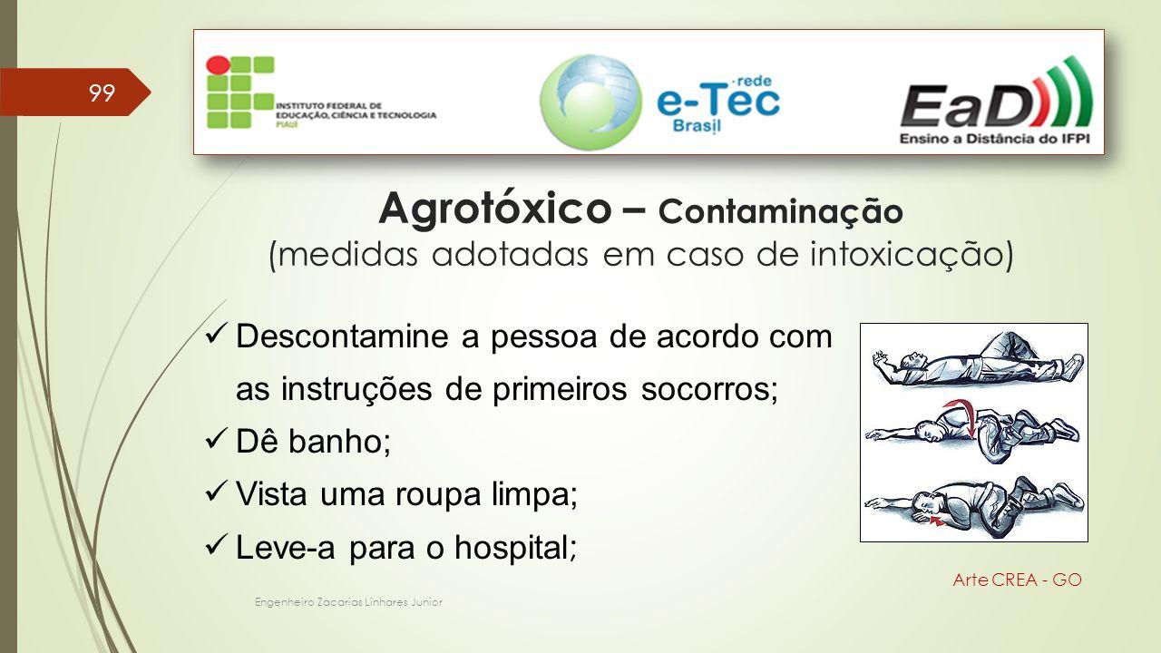 Engenheiro Zacarias Linhares Junior 99 Arte CREA - GO Agrotóxico – Contaminação (medidas adotadas em caso de intoxicação) Descontamine a pessoa de aco