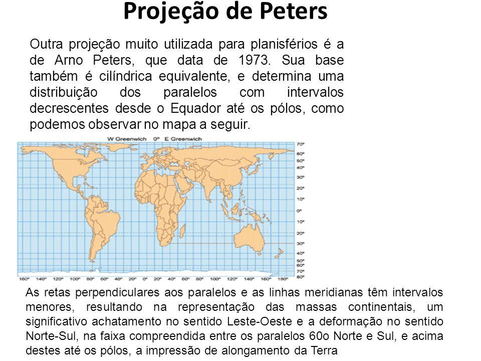 Projeção de Peters Outra projeção muito utilizada para planisférios é a de Arno Peters, que data de 1973. Sua base também é cilíndrica equivalente, e