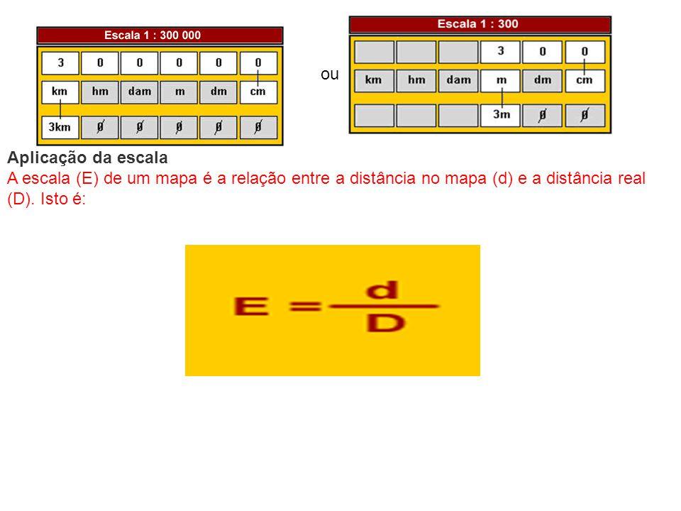 ou Aplicação da escala A escala (E) de um mapa é a relação entre a distância no mapa (d) e a distância real (D). Isto é: