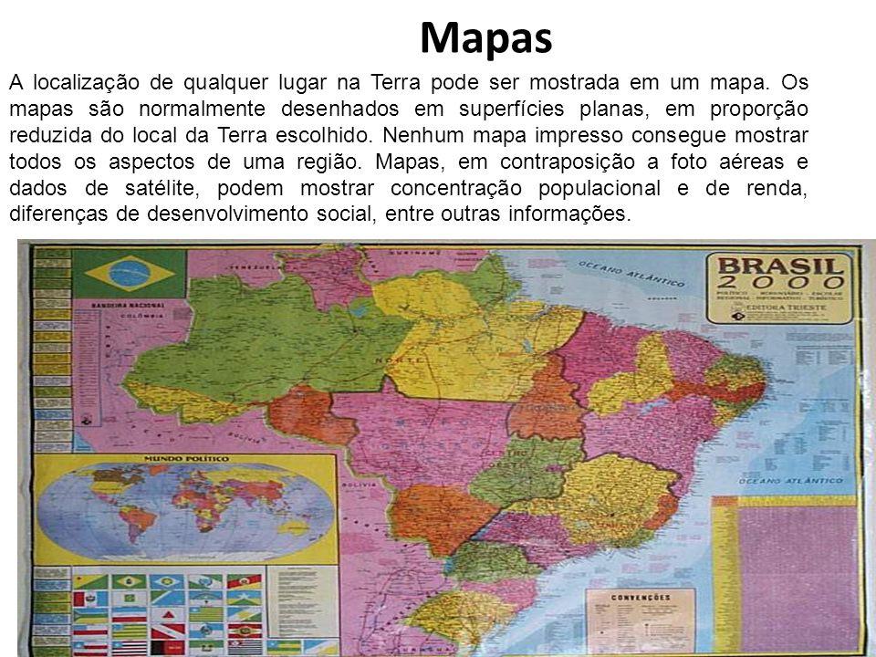 Mapas A localização de qualquer lugar na Terra pode ser mostrada em um mapa. Os mapas são normalmente desenhados em superfícies planas, em proporção r