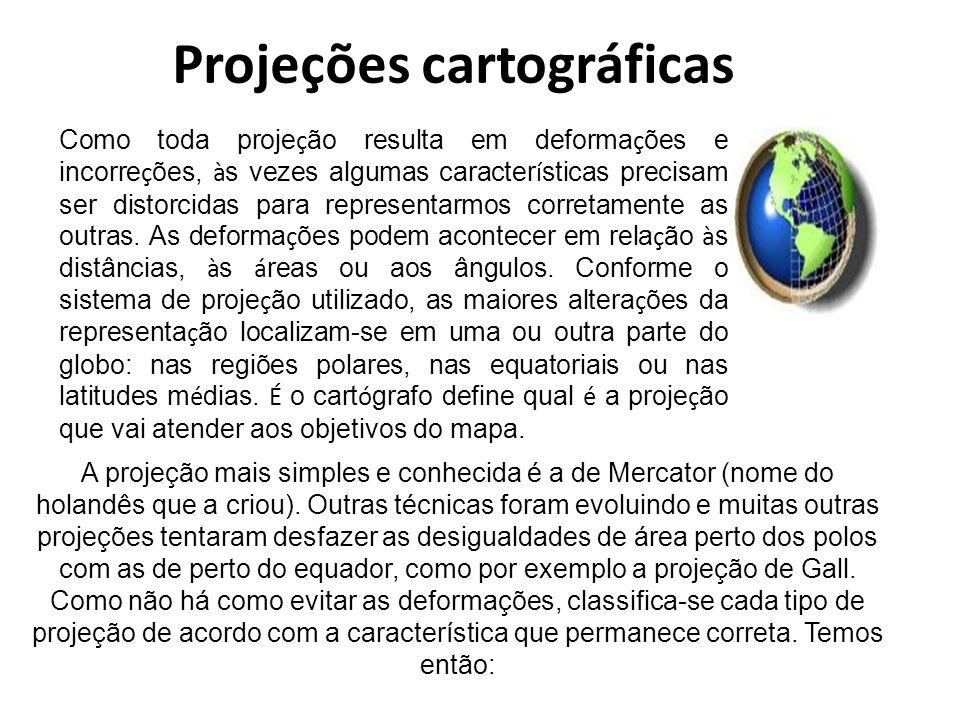 Projeções cartográficas Os três principais tipos de projeção são: Projeções equidistantes = distâncias corretas Projeções conformes = igualdade dos ângulos e das formas dos continentes Projeções equivalentes = mostram corretamente a distância e a proporção entre as áreas Projeções Cônicas Projeções Cilíndricas Projeção Azimutal ou Plana