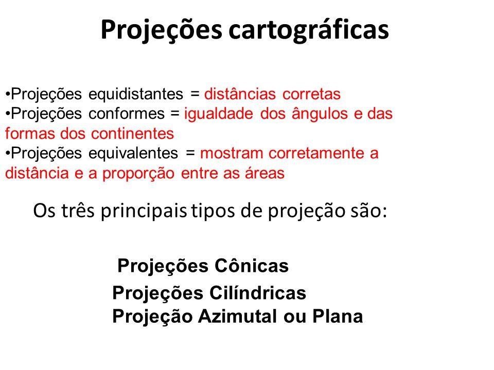 Projeções cartográficas Os três principais tipos de projeção são: Projeções equidistantes = distâncias corretas Projeções conformes = igualdade dos ân