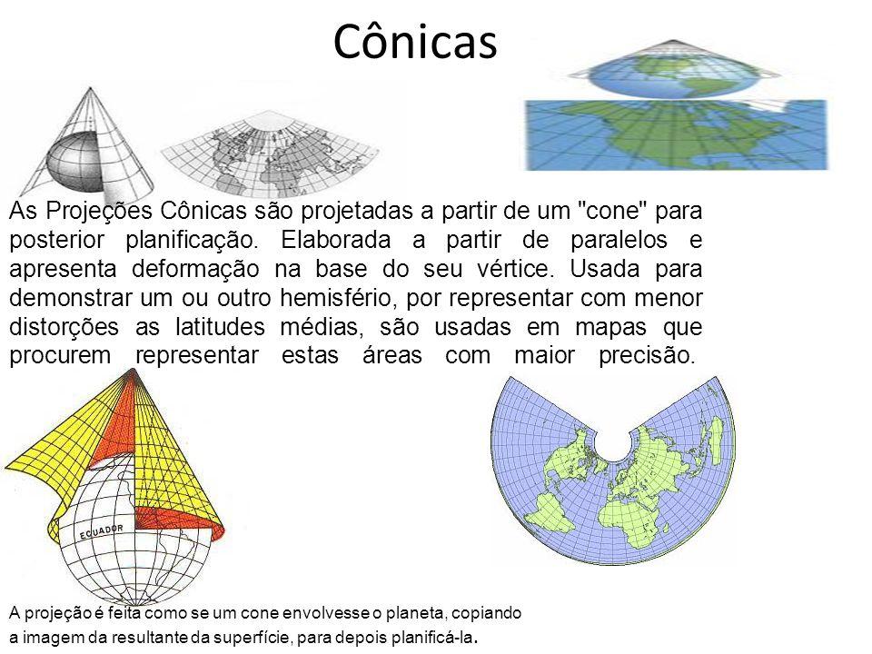 cilíndricas Projetada a partir do globo terrestre em um cilindro para serem posteriormente planificadas.