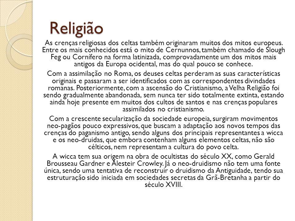 Religião As crenças religiosas dos celtas também originaram muitos dos mitos europeus. Entre os mais conhecidos está o mito de Cernunnos, também chama