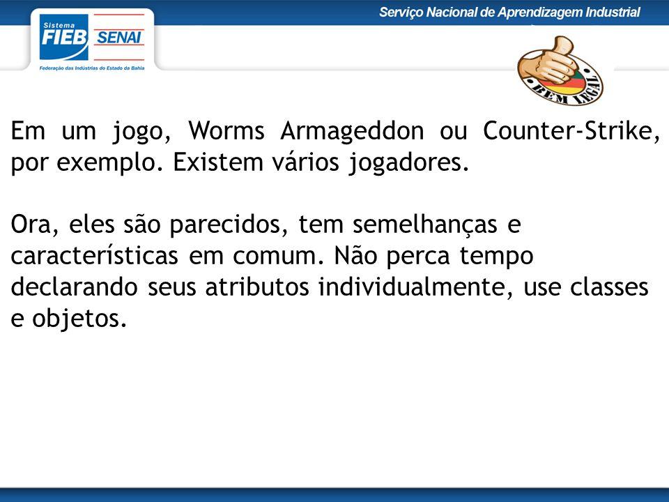 Em um jogo, Worms Armageddon ou Counter-Strike, por exemplo. Existem vários jogadores. Ora, eles são parecidos, tem semelhanças e características em c