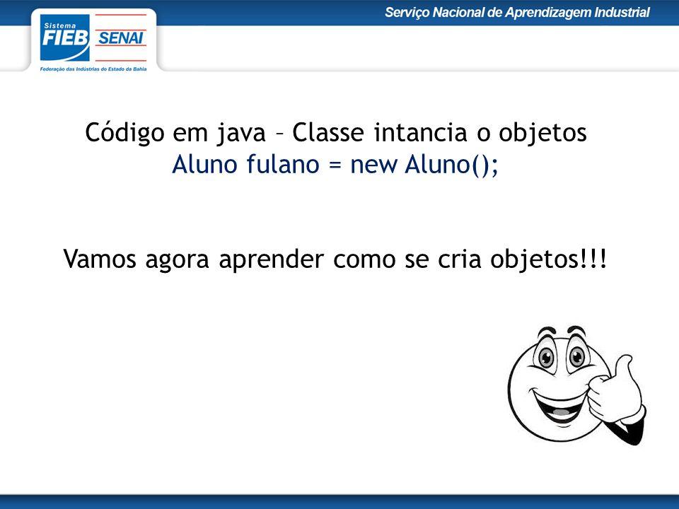 Código em java – Classe intancia o objetos Aluno fulano = new Aluno(); Vamos agora aprender como se cria objetos!!!
