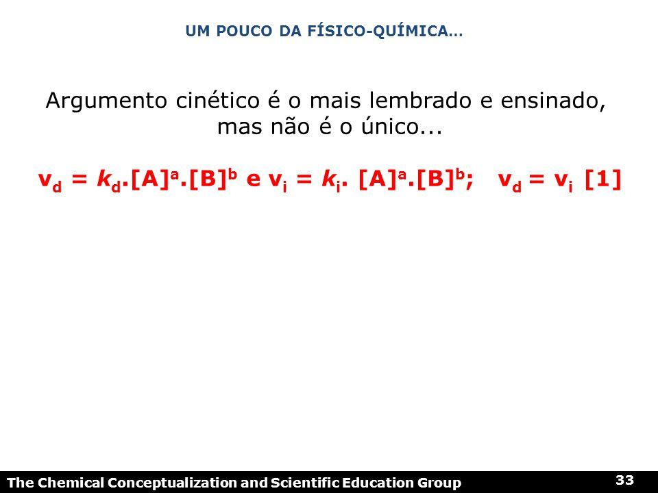 The Chemical Conceptualization and Scientific Education Group 33 UM POUCO DA FÍSICO-QUÍMICA… Argumento cinético é o mais lembrado e ensinado, mas não