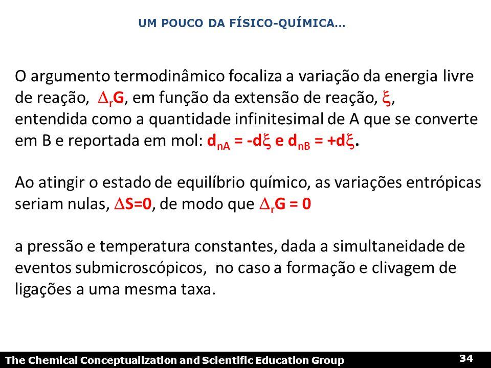 The Chemical Conceptualization and Scientific Education Group 34 UM POUCO DA FÍSICO-QUÍMICA… O argumento termodinâmico focaliza a variação da energia