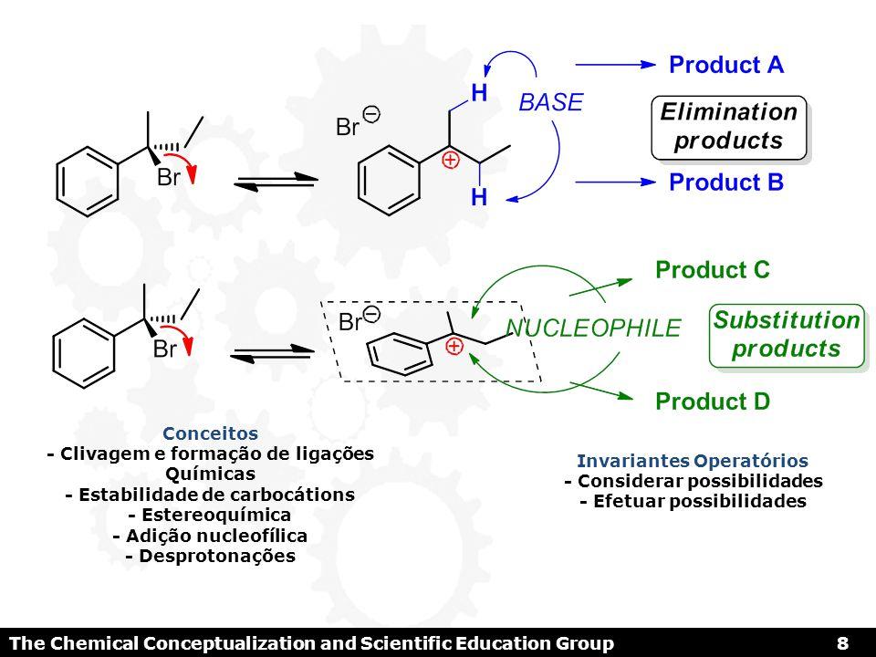 Conceitos - Clivagem e formação de ligações Químicas - Estabilidade de carbocátions - Estereoquímica - Adição nucleofílica - Desprotonações Invariante