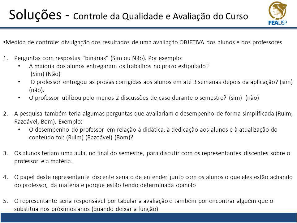 Soluções - Controle da Qualidade e Avaliação do Curso Medida de controle: divulgação dos resultados de uma avaliação OBJETIVA dos alunos e dos profess