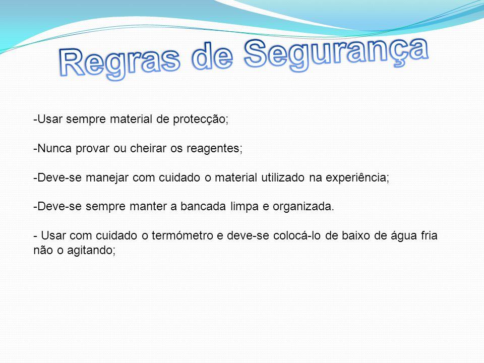 -Usar sempre material de protecção; -Nunca provar ou cheirar os reagentes; -Deve-se manejar com cuidado o material utilizado na experiência; -Deve-se