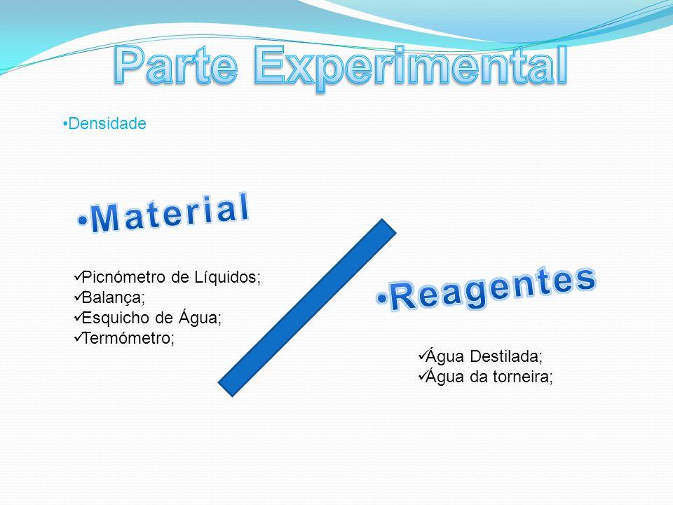 Picnómetro de Líquidos; Balança; Esquicho de Água; Termómetro; Água Destilada; Água da torneira; Densidade
